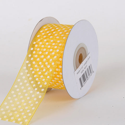 Organza Swiss Dots Ribbon Sunflower ( W: 3/8 inch | L: 25 Yards ) -