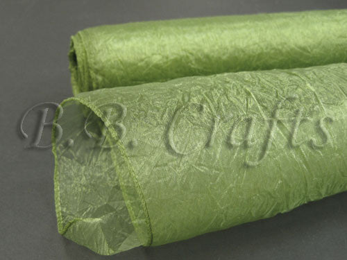 Moss  Premium Crinkle Organza Overlays  ( W: 24 inch | L: 10 Yards )- Ribbons Cheap