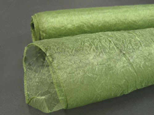 Premium Crinkle Organza Overlays Moss ( W: 24 inch | L: 10 Yards )