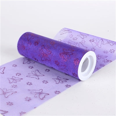 Purple - Glitter Butterfly Organza Roll (6 Inch x 10 Yards)