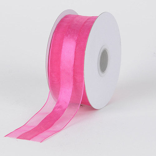 Organza Ribbon Satin Center Fuchsia ( W: 5/8 inch | L: 25 Yards ) -