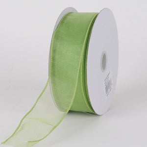Organza Ribbon Thick Wire Edge 25 Yards Kiwi ( W: 1-1/2 inch | L: 25 Yards ) -