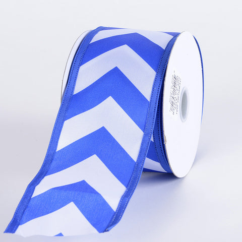 Chevron Print Satin Ribbon White with Royal Blue ( 2-1/2 inch | 10 Yards ) -