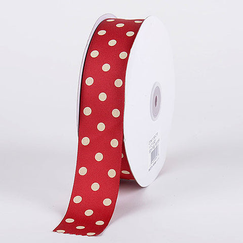 Grosgrain Ribbon Polka Dot Cranberry With Ivory Dots ( W: 3/8 inch | L: 50 Yards ) -