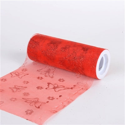 Butterfly Organza Roll 6 inch x 10 Yards (Red)