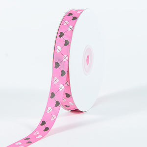 Grosgrain Ribbon Plaid Sweetheart Print Hot Pink ( W: 3/8 inch | L: 25 Yards ) -