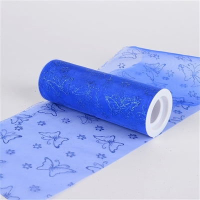 Glitter Butterfly Organza Roll 6 inch x 10 Yards (Royal Blue)
