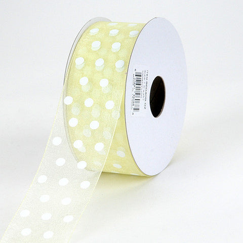 Organza Polka Dot Ribbon Baby Maize ( 5/8 inch | 25 Yards ) -