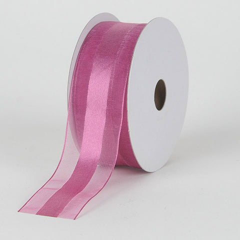 Organza Ribbon Satin Center Colonial Rose ( W: 5/8 inch | L: 25 Yards ) -