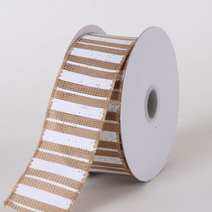 Burlap Ribbon Multi Stripes Natural ( W: 1-1/2 inch | L: 10 Yards ) -