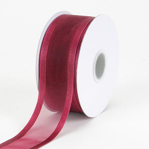 Organza Ribbon Two Striped Satin Edge Burgundy ( W: 3/8 inch | L: 25 Yards ) -