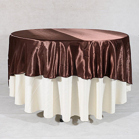 Chocolate  90 Inch Satin Round Tablecloths- Ribbons Cheap
