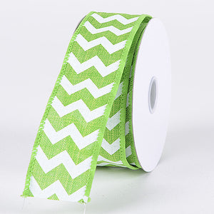 Chevron Canvas Wired Edge Lime ( W: 1-1/2 inch | L: 10 Yards ) -