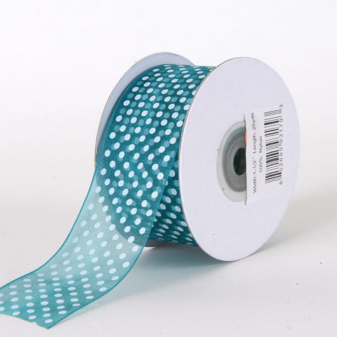 Organza Swiss Dots Ribbon Teal ( W: 3/8 inch | L: 25 Yards ) -