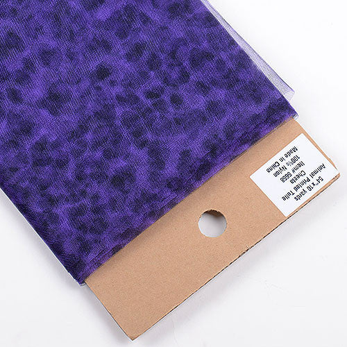 Animal Printed Tulle Bolt Cheetah Purple ( W: 54 inch | L: 10 Yards ) - Ribbons Cheap