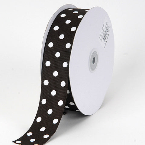Grosgrain Ribbon Polka Dot Black with White Dots ( W: 3/8 inch | L: 50 Yards ) -