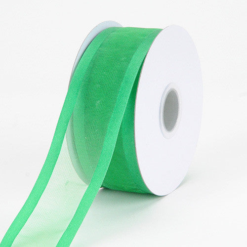 Organza Ribbon Two Striped Satin Edge Emerald ( W: 3/8 inch | L: 25 Yards )