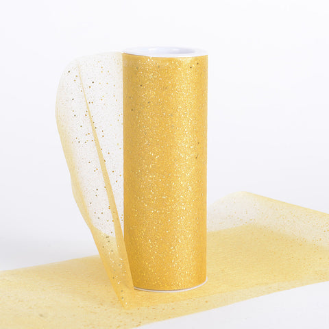 6 Inch Confetti Organza Roll Gold ( W: 6 inch | L: 10 yards ) - Ribbons Cheap