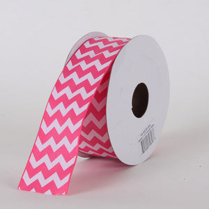Grosgrain Chevron Ribbon Hot Pink ( 7/8 inch | 10 Yards ) -