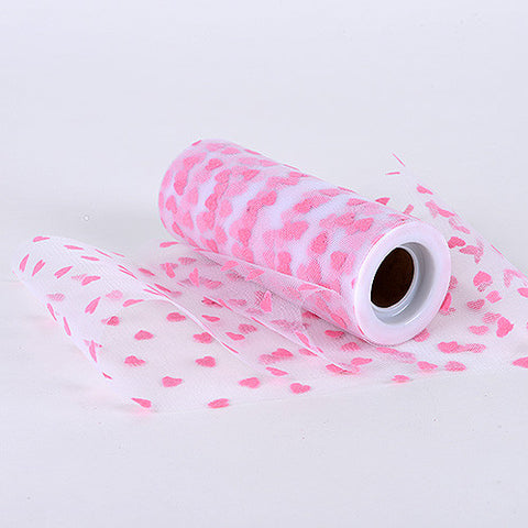 6 Inch x 10 Yards Heart Tulle Pink -