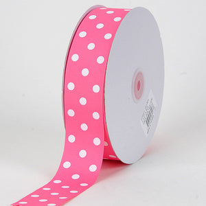 Grosgrain Ribbon Polka Dot Hot Pink with White Dots ( W: 3/8 inch | L: 50 Yards ) -