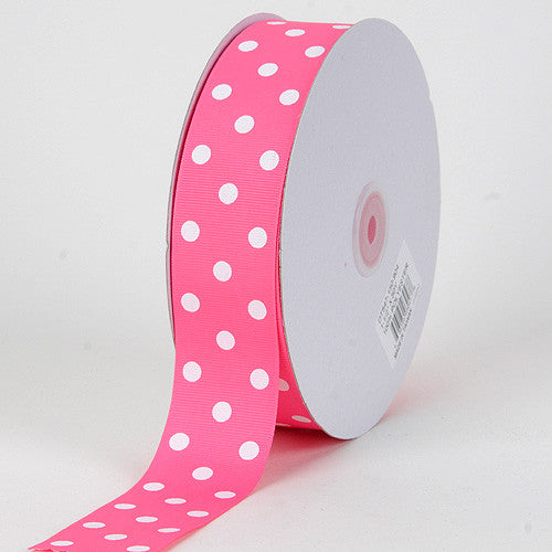 Grosgrain Ribbon Polka Dot Hot Pink with White Dots ( W: 3/8 inch | L: 50 Yards )