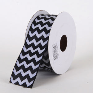 Grosgrain Chevron Ribbon Black ( 2-1/4 inch | 10 Yards ) -