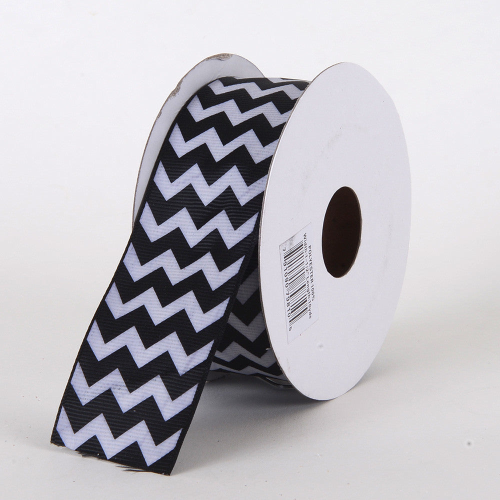 Grosgrain Chevron Ribbon Black ( W: 5/8 inch | L: 10 Yards ) -