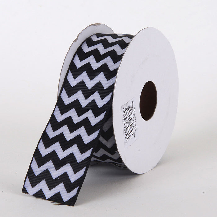 Grosgrain Chevron Ribbon Black ( 7/8 inch | 10 Yards )