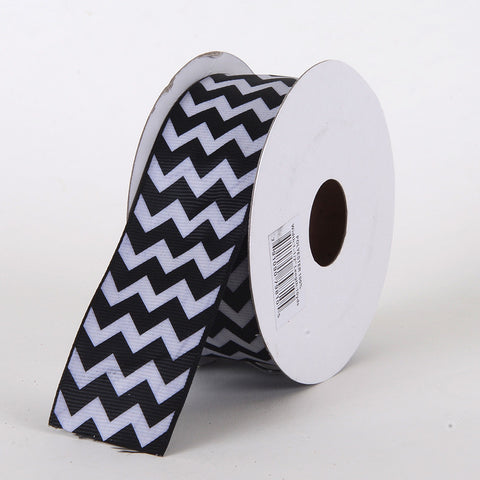 Grosgrain Chevron Ribbon Black ( 7/8 inch | 10 Yards ) -