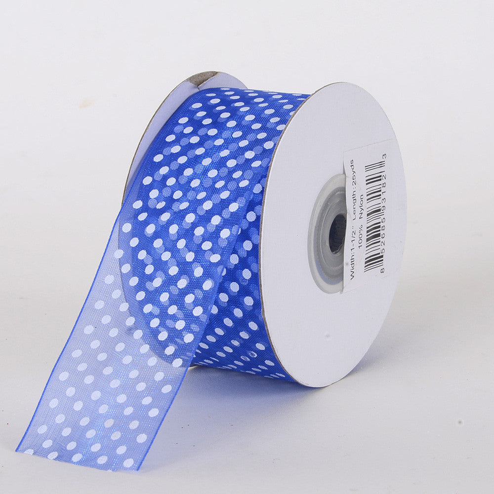 Organza Swiss Dots Ribbon Royal Blue ( W: 3/8 inch | L: 25 Yards ) -