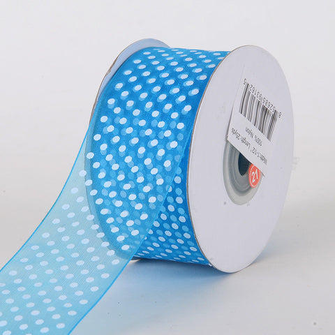 Organza Swiss Dots Ribbon Turquoise ( 5/8 inch | 25 Yards ) -