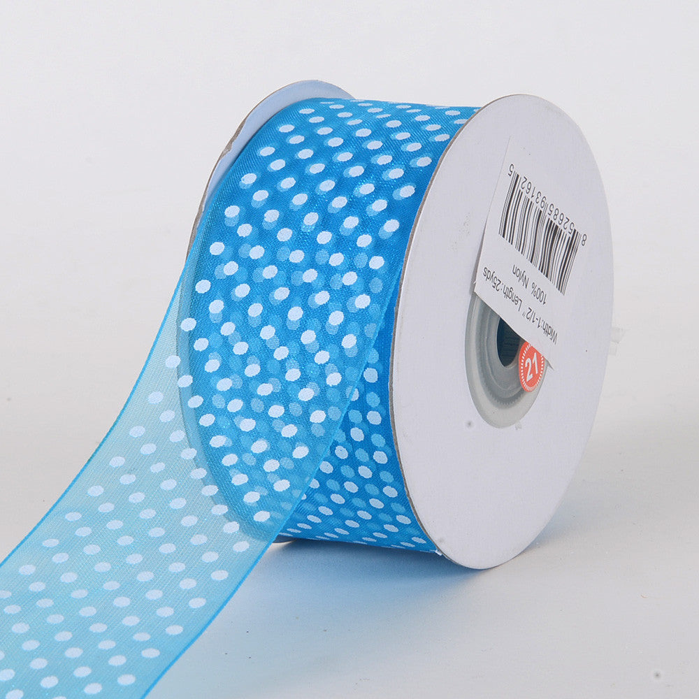 Organza Swiss Dots Ribbon Turquoise ( W: 3/8 inch | L: 25 Yards ) -