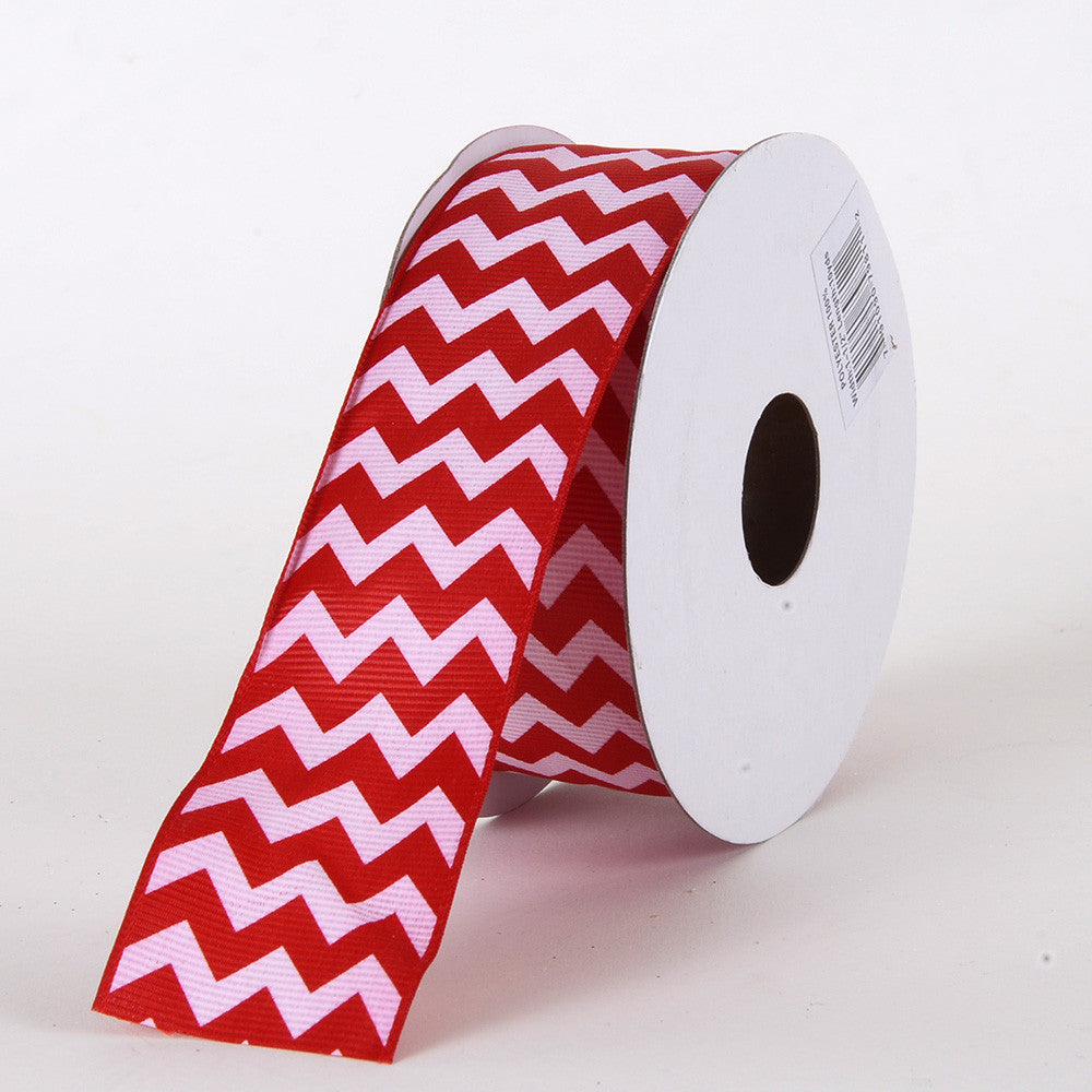 Grosgrain Chevron Ribbon Red ( 7/8 inch | 10 Yards ) -