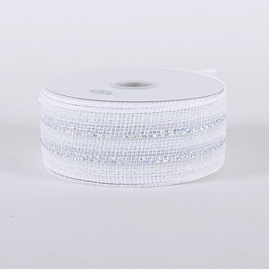 Laser Metallic Mesh Ribbon White Irridescent Line ( 2-1/2 inch x 25 Yards ) -