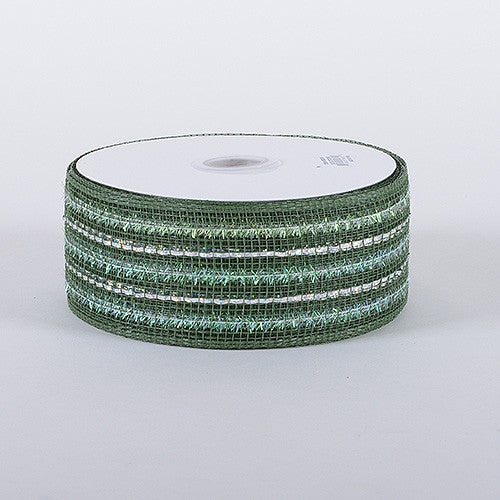 Laser Metallic Mesh Ribbon Old Willow ( 4 Inch x 25 Yards )