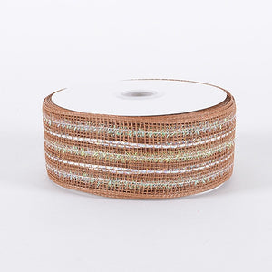 Laser Metallic Mesh Ribbon Milky Chocolate ( 4 Inch x 25 Yards ) -