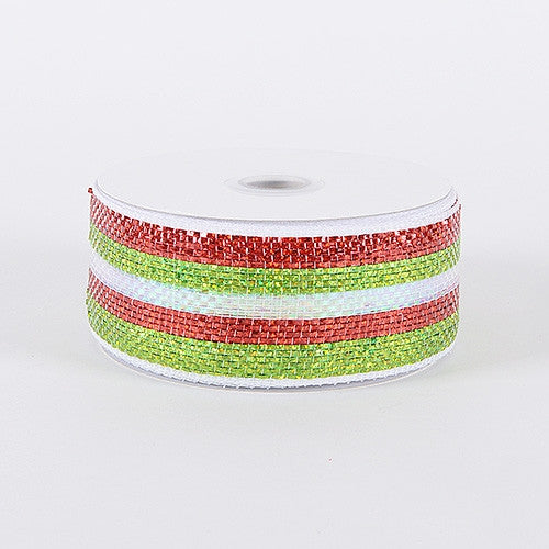 Laser Metallic Mesh Ribbon Green Red ( 4 Inch x 25 Yards )