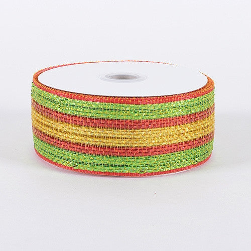 Laser Metallic Mesh Ribbon Red Gold ( 4 Inch x 25 Yards )