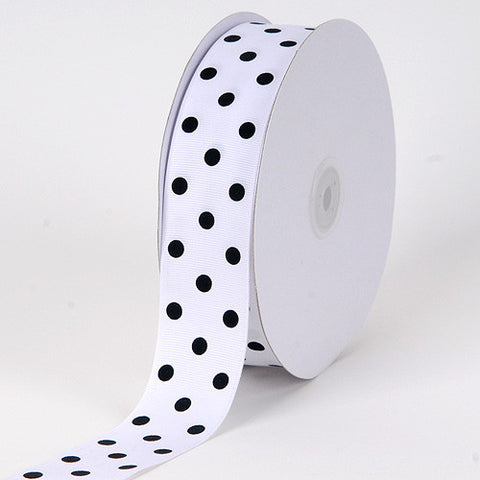 Grosgrain Ribbon Polka Dot White with Black Dot ( W: 3/8 inch | L: 50 Yards ) -