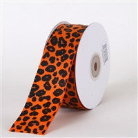 Grosgrain Leopard Print Ribbon Orange ( W: 1-1/2 inch | L: 25 Yards ) -