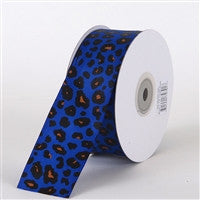 Grosgrain Leopard Print Ribbon Royal Blue ( W: 1-1/2 inch | L: 25 Yards ) -