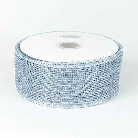 Floral Mesh Ribbon Silver ( 2-1/2 inch x 25 Yards ) -