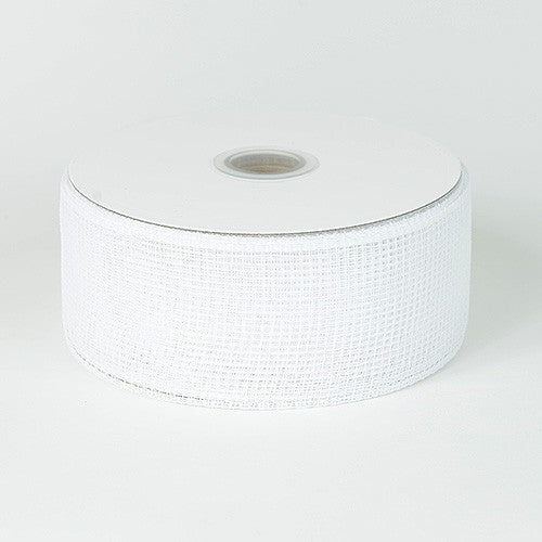 Floral Mesh Ribbon White ( 4 Inch x 25 Yards )
