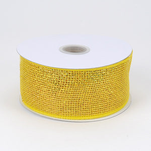 Metallic Deco Mesh Ribbons Yellow ( 2.5 inch x 25 yards ) -
