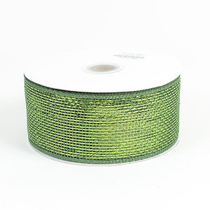 Metallic Deco Mesh Ribbons Moss ( 2.5 inch x 25 yards ) -