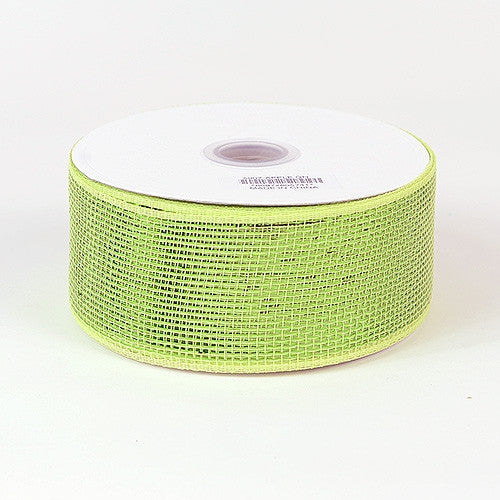 Metallic Deco Mesh Ribbons Apple Green ( 2.5 inch x 25 yards )