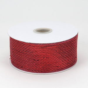 Metallic Deco Mesh Ribbons Burgundy ( 2.5 inch x 25 yards ) -