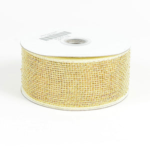 Metallic Deco Mesh Ribbons Ivory ( 2.5 inch x 25 yards ) -