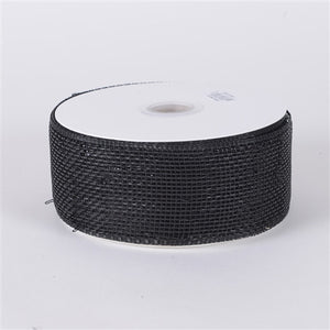 Metallic Deco Mesh Ribbons Black ( 2.5 inch x 25 yards ) -
